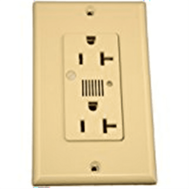 Leviton 7380 I 20 Amp 125 Volt Decora Plus Duplex Surge Suppressor Receptacle Straight Blade Industrial Grade Self Grounding Surge With Indicator Light Ivory Walmart Com Walmart Com