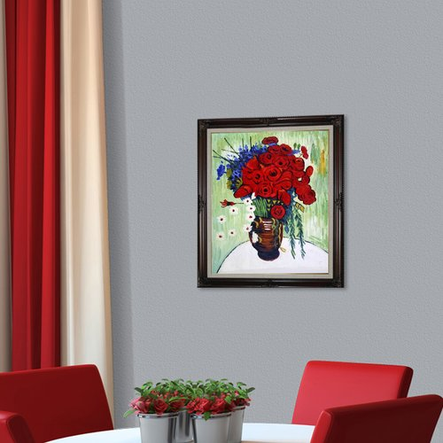Wildon Home Vase with Daisies and Poppies by Vincent Van Gogh Framed Painting