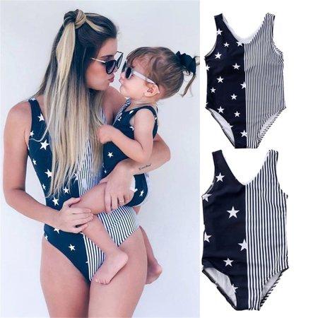 Matching Women Baby Kid Girls Striped Star Print Swimwear Swimsuit Bikini Beachwear