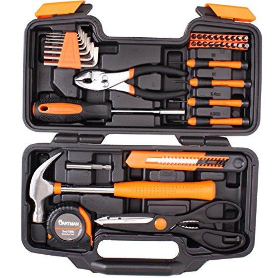 cde5108020e Cartman Orange 39-Piece Tool Set - General Household Hand Tool Kit with Plastic  Toolbox Storage Case - Walmart.com