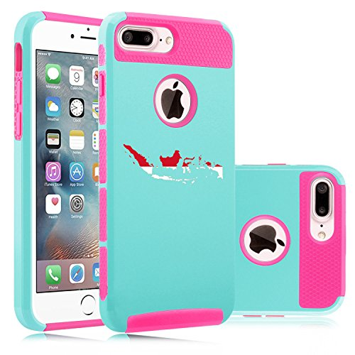 For Apple iPhone (7 Plus) Shockproof Impact Hard Soft Case Cover Indonesia Indonesian (Light Blue-Hot Pink)