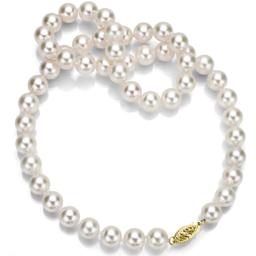"""8.5-9mm White Perfect Round Akoya Pearl 20"""" Necklace with 14kt Yellow Gold Clasp"""