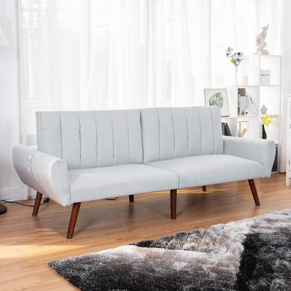 Costway Sofa Futon Bed Sleeper Couch Convertible Mattress Premium Linen Upholstery Gray