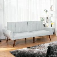 Costway Sofa Futon Bed Sleeper Couch Convertible Mattress Premium Linen Upholstery Gray