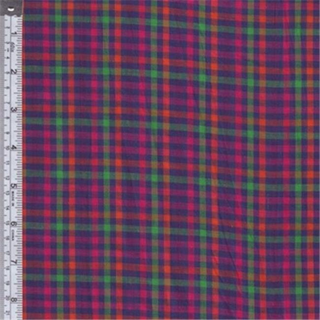 Textile Creations RW0123 Rustic Woven Fabric, Check Royal, Magenta And Green, 15 yd.