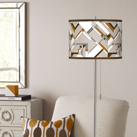Giclee Glow Craftsman Mosaic Brushed Nickel Pull Chain Floor Lamp