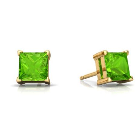 2 Ct Peridot Princess Cut Stud Earrings 14Kt Yellow Gold