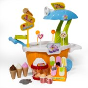 ihubdeal  Toy Ice Cream Cart Pretend Play Set for Kids with Ice Cream Trolley, Assorted Play Foods — Ice Cream Cones, Popsicles and Popcorn and more 43-Piece