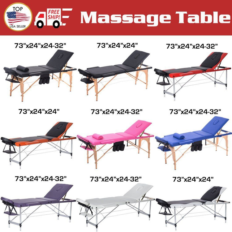 Freedom Massage Therapy Table BestMassage 3 Fold Portable Blue Massage Table Facial SPA Bed W/bags + Pillow + Hanger