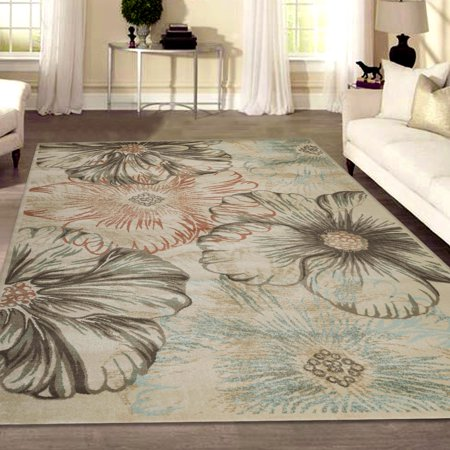 Ghiacco Modern Transitional Floral Area Rug Or Runner Rug Or Round