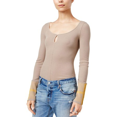 Free People Womens Knit Textured Pullover Top