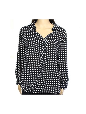 fc8e889363499 Product Image ALFANI Womens Black Geometric Cuffed Collared Hi-Lo Top Size   6