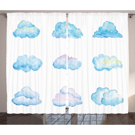 Kids Curtains 2 Panels Set, Pattern of Various Bright Clouds Watercolor Illustration Fluffy Softness Purity Print, Living Room Bedroom Decor, Blue White, by Ambesonne ()