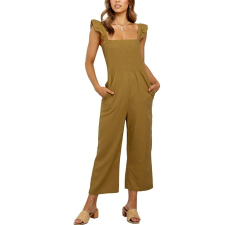 Womens Long Jumpsuit Sleeveless Strappy Romper Playsuit with Pockets Wide Leg Pants Outfits - image 2 of 7