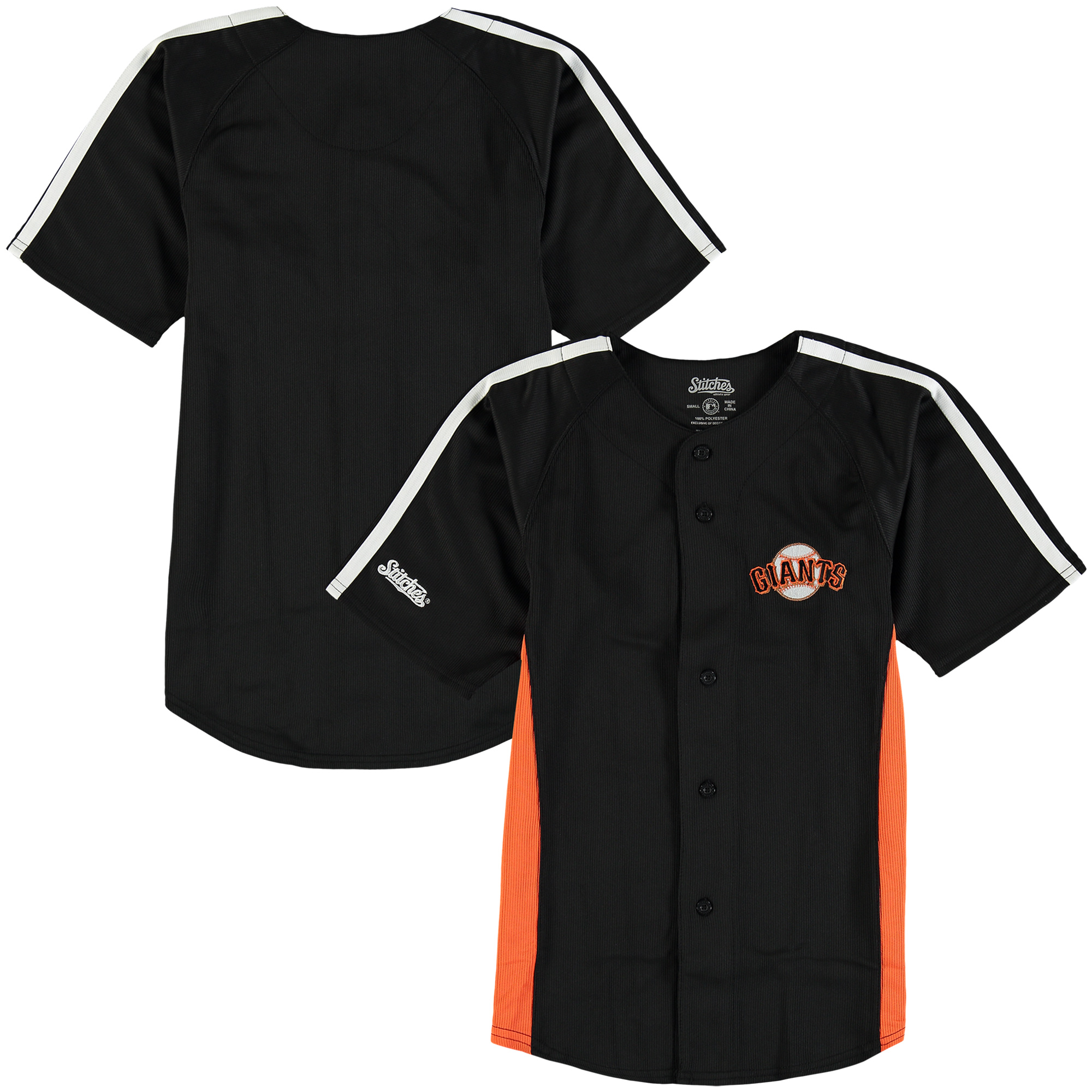 San Francisco Giants Stitches Youth Chin Music Fashion Button Jersey - Black