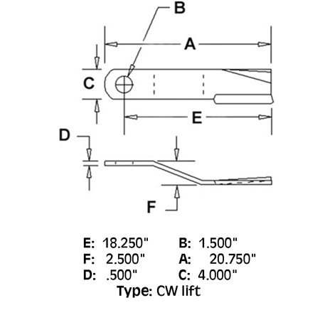 86665 New CW Lift Rotary Cutter Blade Made To Fit Bush Hog