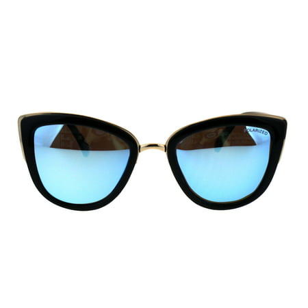Polarized Antiglare Lens Mod Oversize Cat Eye Designer Sunglasses Black Gold Blue Mirror