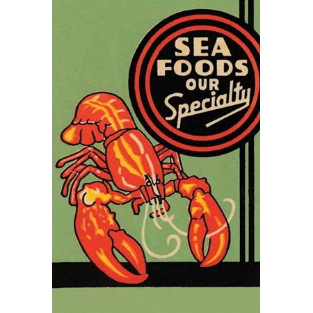 Matchbook cover featuring a lobster and promoting sea food at the establishment Poster Print by unknown