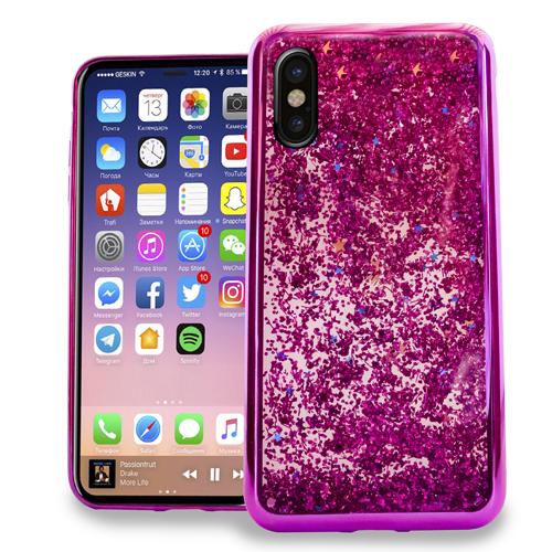 MUNDAZE Hot Pink Motion Glitter Chrome Case For Apple iPhone X Phone
