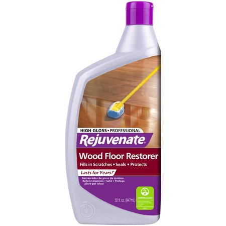 Rejuvenate Professional Wood Floor Restorer with Durable High Gloss Finish Non-Toxic Easy Mop On Application - 32 Ounces 32oz