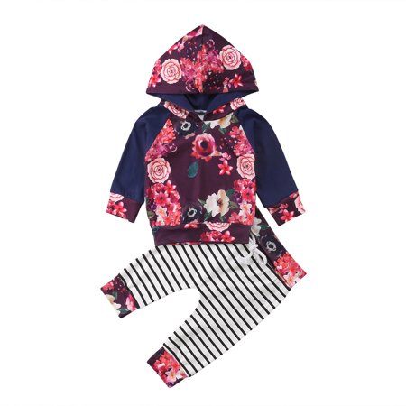 2Pcs Infant Baby Girls Long Sleeve Hoodie Floral Print Top +Striped Long Pant Outfits Set