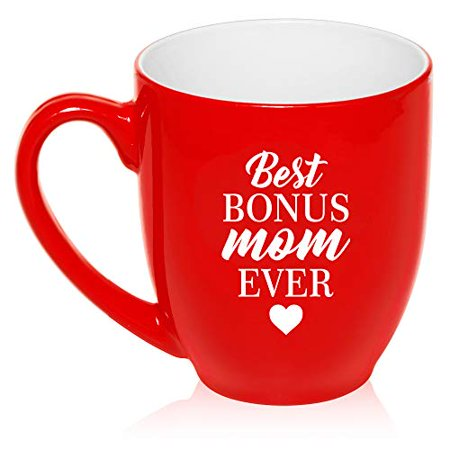 16 oz Large Bistro Mug Ceramic Coffee Tea Glass Cup Best Bonus Mom Ever Step Mom Mother
