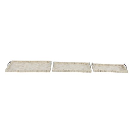 Decmode Contemporary 16, 18 And 20 Inch Wood Rectangular Animal Bone And Wood Serving Trays - Set of 3