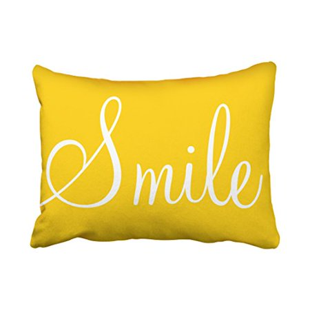 WinHome Decorative SMILE Sunshine Yellow Decorative Lumbar Pillowcase Pillow Covers Size 20x30 inches Two Side](Yellow Pillow)