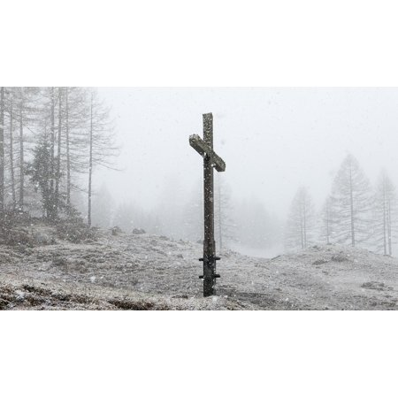 Peel-n-Stick Poster of Winter Wintry Snow Cross Snowfall Cold Vorarlberg Poster 24x16 Adhesive Sticker Poster Print