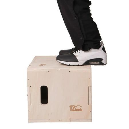 3 in 1 Wood Plyometric Box for Jump Training 12*14*16 Plyo Exercise