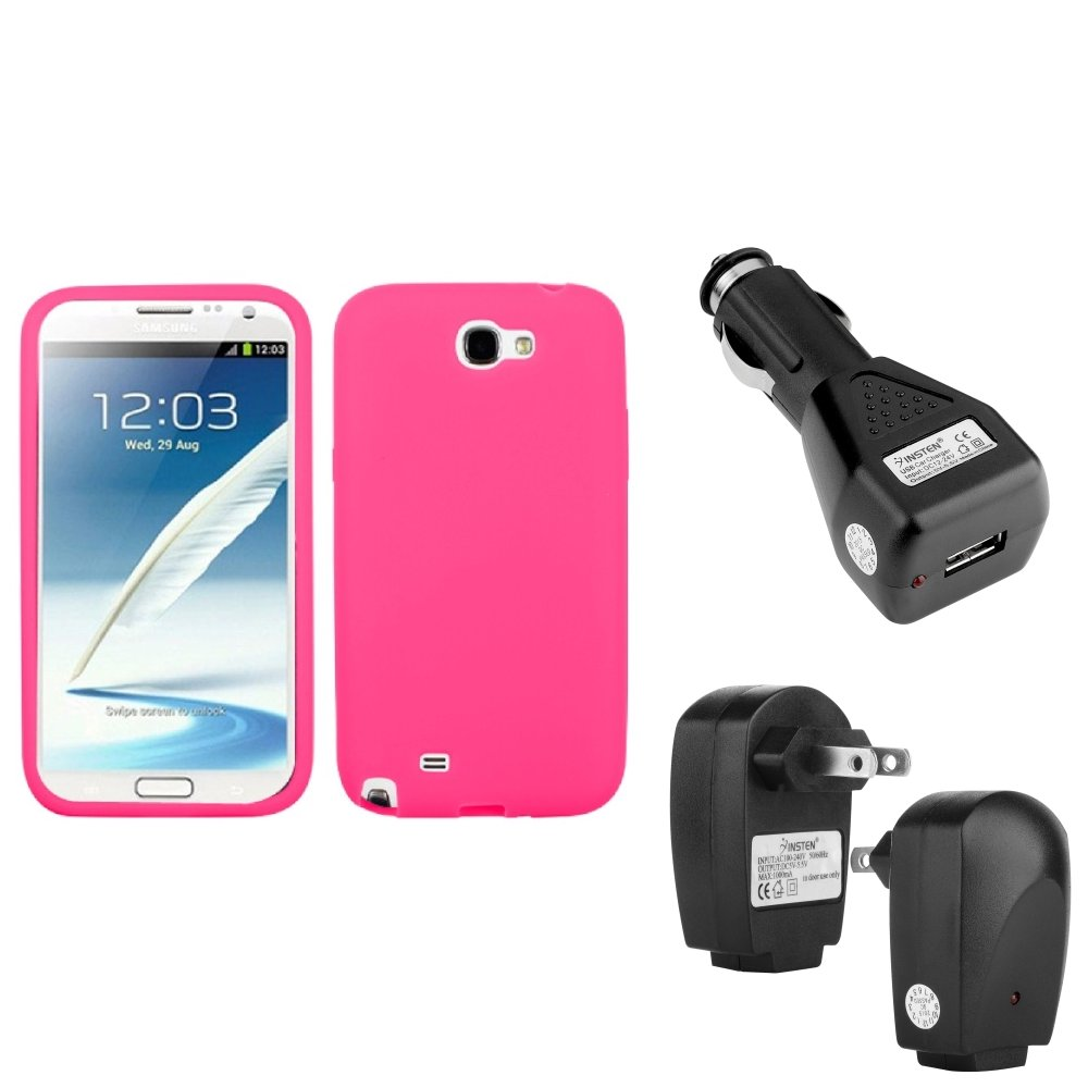 Insten Electric Pink Silicone Case+Car+Home Charger Adapter For Samsung Galaxy Note 2
