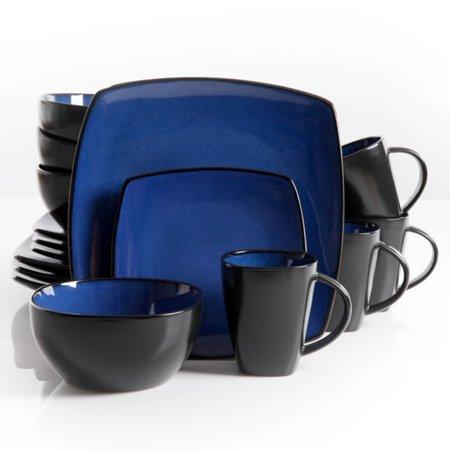 Soho Lounge 16 pc Dinnerware, Blue Square Shape (Soho Ny-shops)