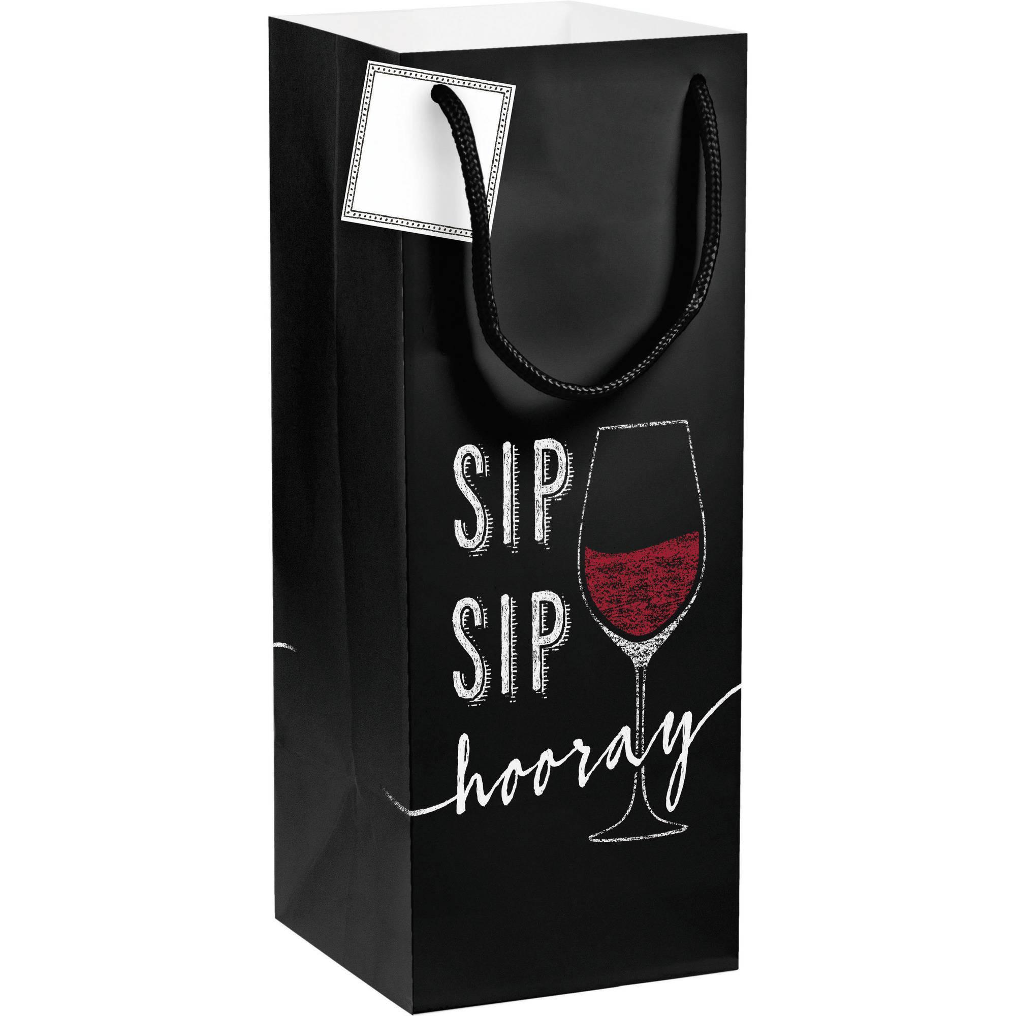 Creative Converting Sip Sip Hooray Wine Gift Bag, 1-Pack