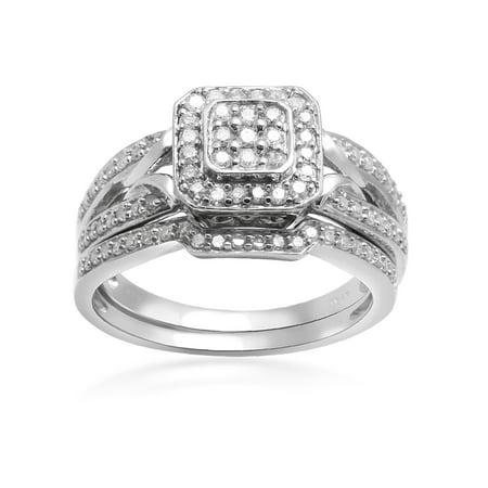 1/2 Carat T.W. Diamond Octagon Head Sterling Silver Bridal Set Head Half Set