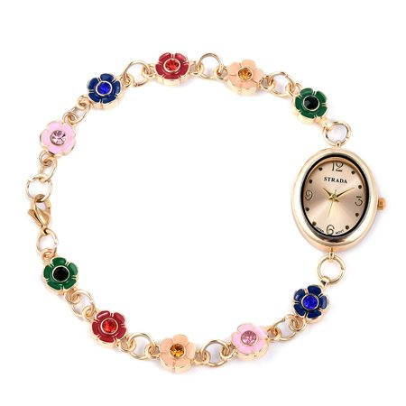 STRADA Multi Color Austrian Crystal Japanese Movement Bracelet Watch 9 in with Stainless Steel Back