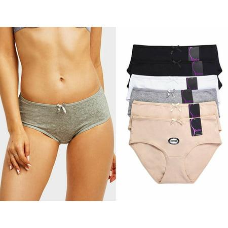 6 Pack of Women Cotton Stretch Bikini Panties Mid Rise Basic Everyday Soild Color Underwear ()