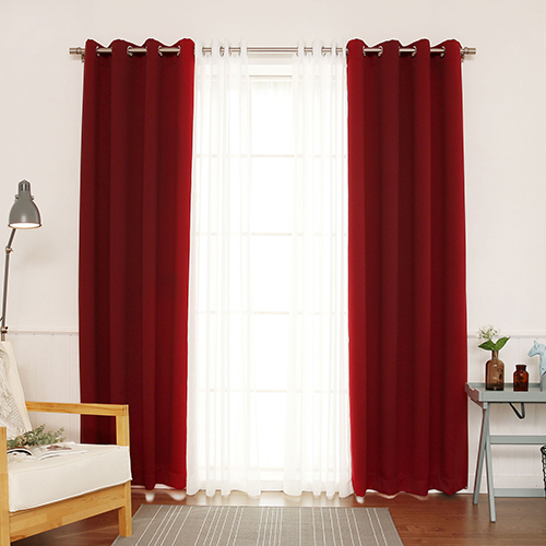 Burgundy 52 x 96 In. Blackout Window Treatments, Set of Four