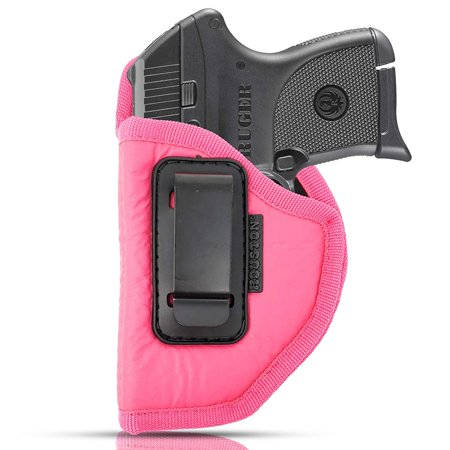 IWB Woman Pink Gun Holster - Houston - ECO Leather Concealed Carry Soft | Suede Interior for Protection Fits: S&W Bodyguard, Taurus TCP, Sig P238, Jimenez JA, PPK380, Ruger LCP II (Left) (Best Concealed Carry Gun For Women)