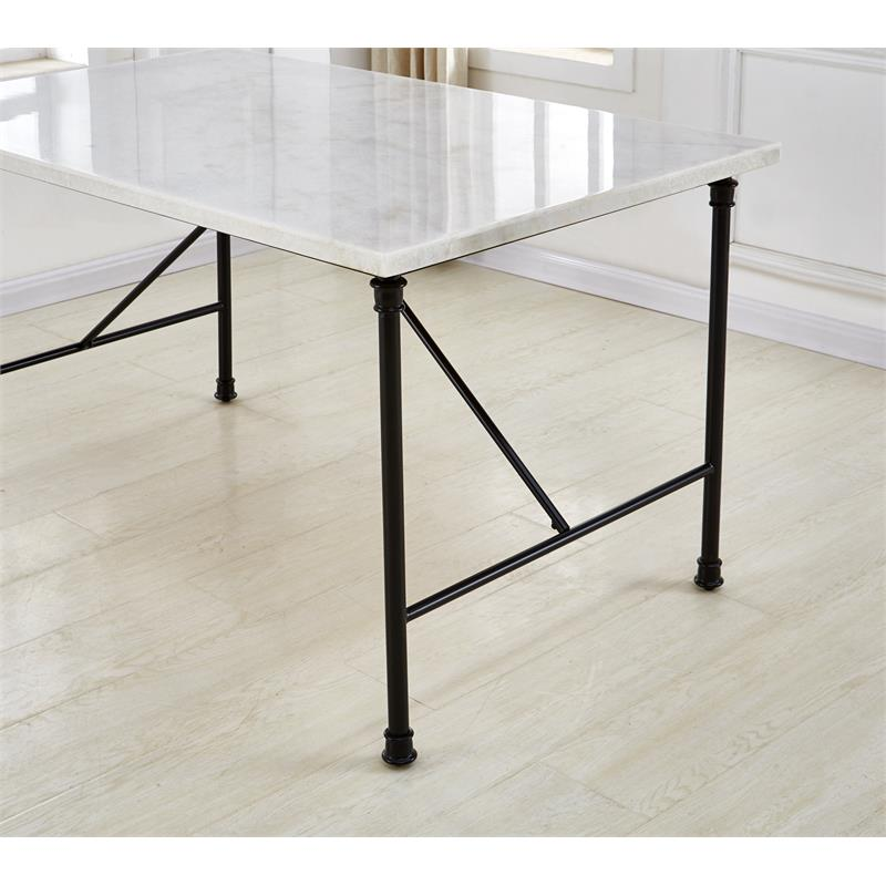Steve Silver Claire White Marble Top Rectangular Dining Table Walmart Com Walmart Com