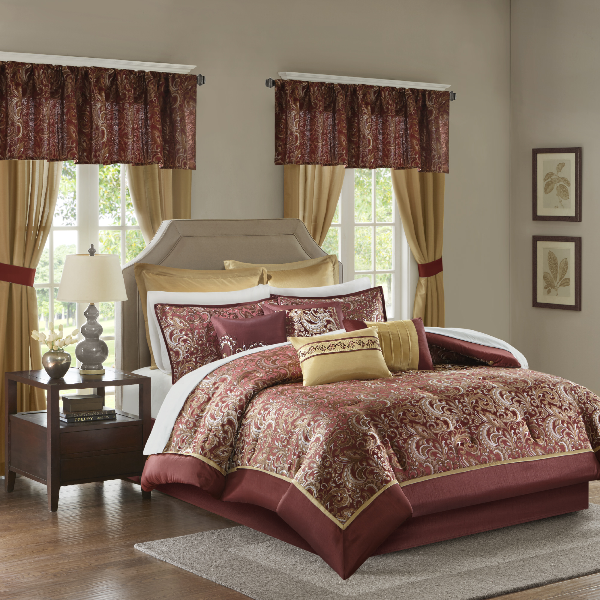 Home Essence Isabella Jacquard Paisley 24 Piece Comforter Collection
