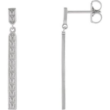 925 Sterling Silver Sculptural-Inspired Bar Drop and Dangle Earrings Bar Drop Dangle Earrings
