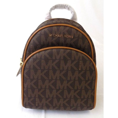 New Womens Michael Kors Abbey X Small Brown Acorn Backpack Book Bag Purse