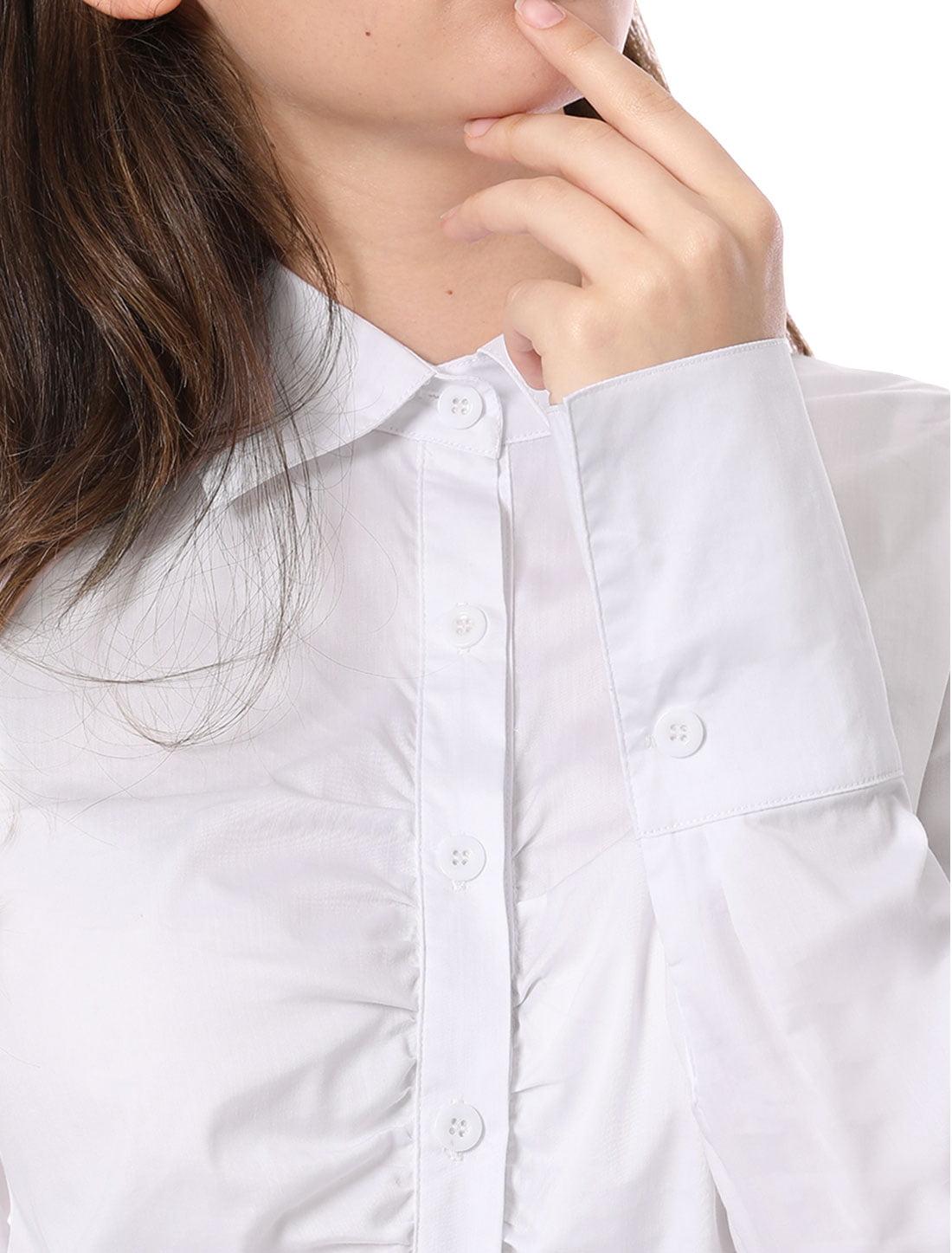 dbe8d18b64e Unique Bargains Allegra K Women s Ruched Button Up Shirt White (Size M   8)
