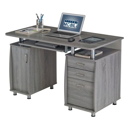 Techni Mobili Complete Workstation Computer Desk with Storage Drawers, Grey ()