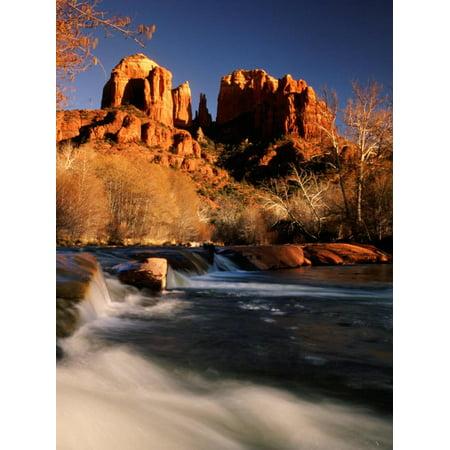 Sunset Sedona Arizona (Sunset on Cathedral Rock, Oak Creek, Sedona, Arizona Print Wall Art By Witold Skrypczak)