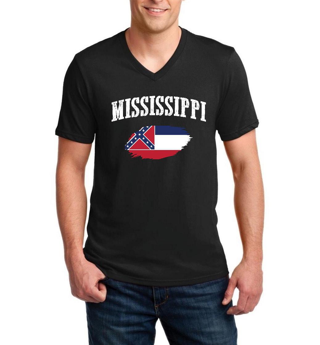 Mississippi State Flag Men V-Neck Shirts Ringspun Tee