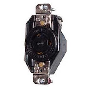 Hubbell-Wiring L520R Screw Mount Locking Receptacle 20 Amp 125 Volt AC 1-Phase NEMA L5-20R Black