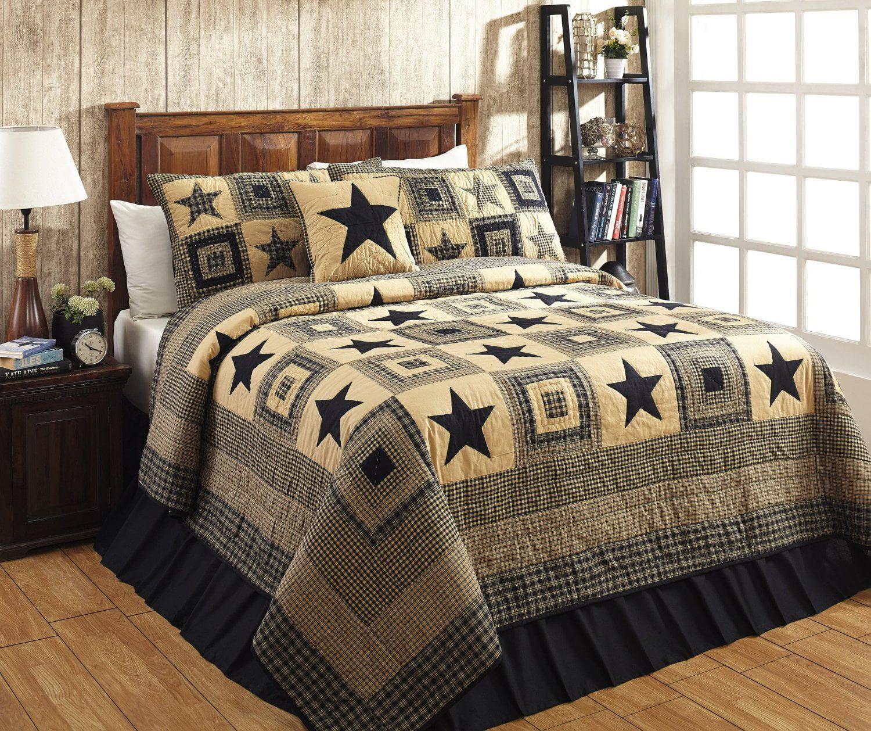 3pc DAKOTA STAR King Quilt SET Primitive Rustic Black//Khaki Tan Farmhouse VHC