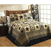 Colonial Star Black and Tan Quilt Set