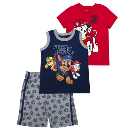 Paw Patrol Paw Patrol Muscle Tank, tee, and Shorts, 3-Piece Outfit Set (Little Boys) (Little Boy Ring Bearer Outfits)